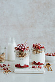 Granola in a jar with yogurt and red currants
