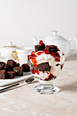 Chocolate, cranberry and whipped cream trifle