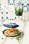 Herb frittata with smoked salmon