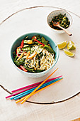 Capellini 'Venice' with vegetables, papaya, ginger and lime