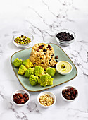Steamed Romanesco with spicy rice