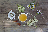Flower tea with elderflower, chamomile and daisy