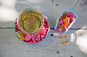 Nerve tea with rose petals