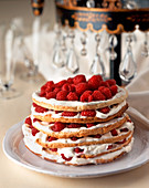 Raspberry and cream millefeuille