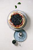 Whole homemade blueberry baked soft cheesecake san sebastian