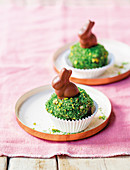 Easter cupcakes decorated with chocolate bunnies