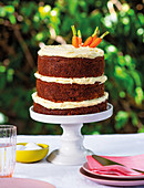 Multi-tiered carrot cake with pineapple and rum on an outdoor table