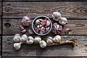 Garlic composition on a wooden table in the garden