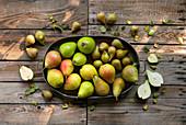 Verschiedene Birnen in Schale auf Holztisch