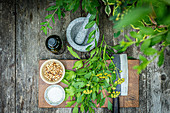 Ingredients for lovage pesto