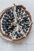 Vegan cashew cheesecake with blueberries