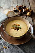 Polish creamy potato soup with mushrooms (chestnut boletus)