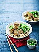Sticky Tofu mit Nudeln (Asien)