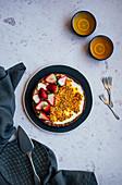 Passion fruit yoghurt tart with strawberries