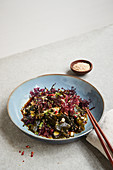 Marinated seaweed salad with cucumber and sesame
