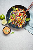 Spicy kelp noodle bowl with lime and chili sauce