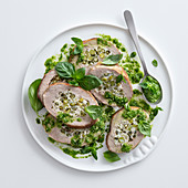 Braised veal roulade with peas, ricotta and green beans