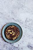 Tahini Brownies baked in round cake tin