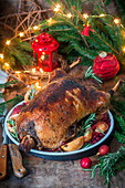 Roasted goose for Christmas