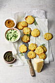 Parmesan biscuits with dips
