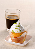 Lemon cupcake with lime cream