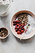 Chia pudding with cherries and granola