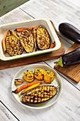 Baked eggplants with mashed sweet potatoes