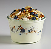Greek Yoghurt with bluberries, bananas, honey and granola