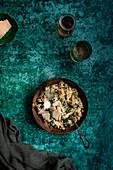 Risotto mit Broccoli, Edamame, Pilzen und Parmesan