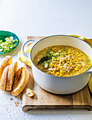 Lemony chicken, corn and rice soup