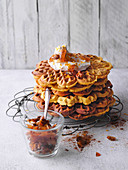 Pumpkin waffles with cream cheese topping