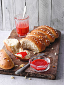 Soft bread with strawberry jam (North Rhine-Westphalia)