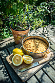 Lemon cake on garden table