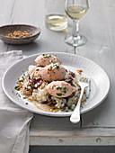 Horseradish and salmon dumplings on radicchio risotto