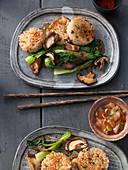 Sushi rice dumplings with tofu, sesame and shiitake mushrooms