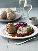 Roast pork with brioche-seasoned dumplings