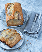 Banana bread with three slices