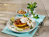 Grilled pineapple with coconut mousse
