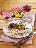 Grilled roulade skewers with radish salad