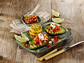Grilled avocado with tomato salsa