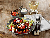 Grilled beetroot with feta cheese and tomato and coriander vinaigrette