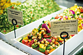 Organic salads in Venice Beach, California, USA