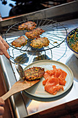 Zucchini cakes with smoked salmon