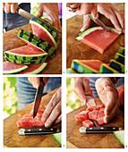 Wassermelone in Würfel schneiden