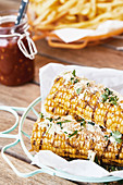 Grilled corn on the cob with coconut jalapeno butter