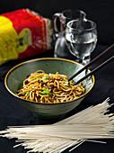 Dan-Dan-Mian - Chinesische Eiernudeln in Hackfleisch-Chiliöl-Sauce