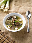 Chinese meatball soup with mu-err mushrooms