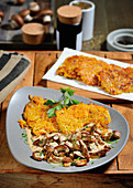 Veal escalopes with potato and carrot rösti