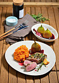 Noisette of lamb with red-wine figs and mashed sweet potatoes