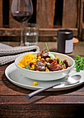 Moroccan lamb stew with figs and turmeric rice